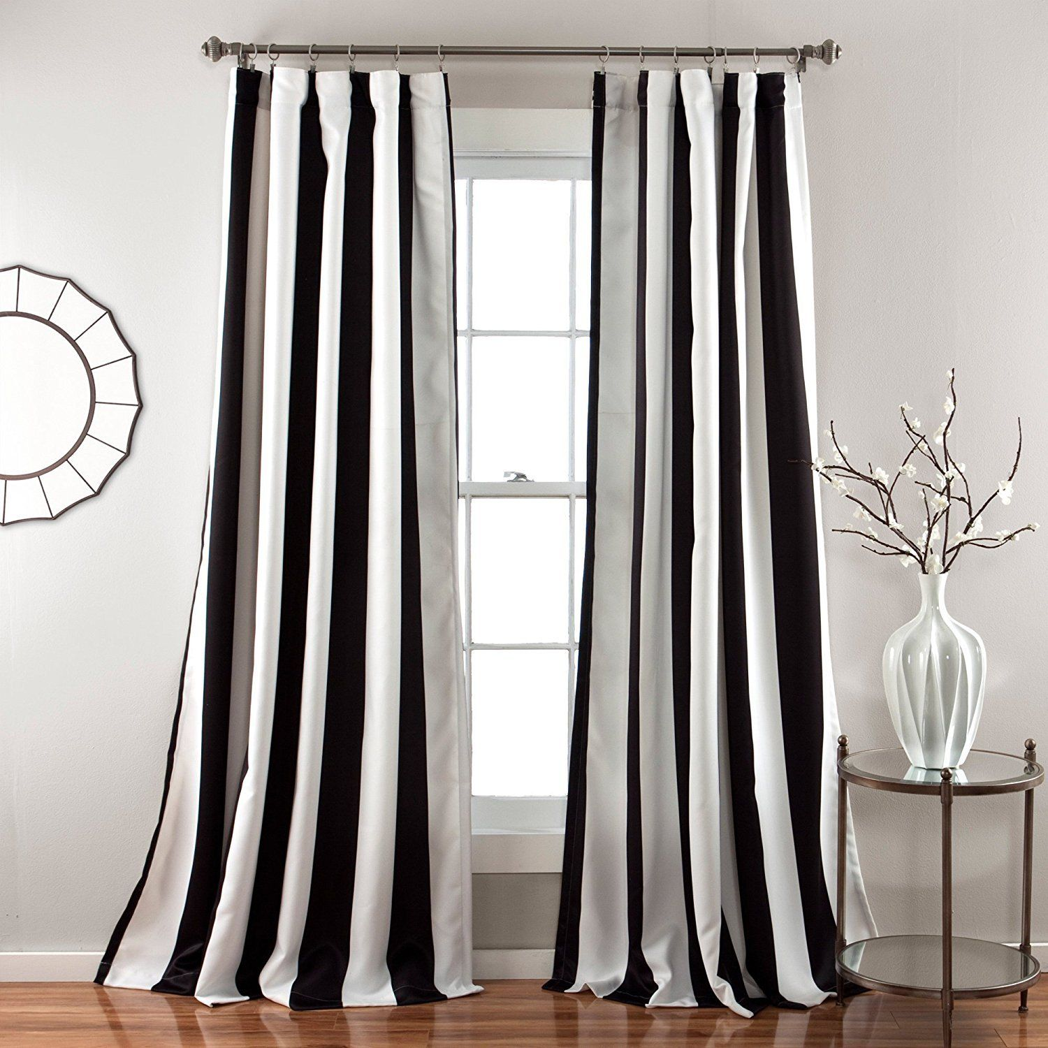 Black Stripe Curtains 84 Inch Bold Black White Rugby Stripes Curtains Pair Panel Set