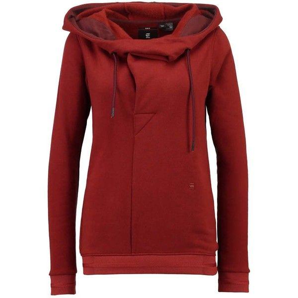 XARIN SLIM DRAPY HDD SW L/S Hoodie dark auburn ($55) ❤ liked on Polyvore featuring tops, hoodies, hooded pullover, slim fit hoodies, red hooded sweatshirt, red hoodies and slim fit hoodie