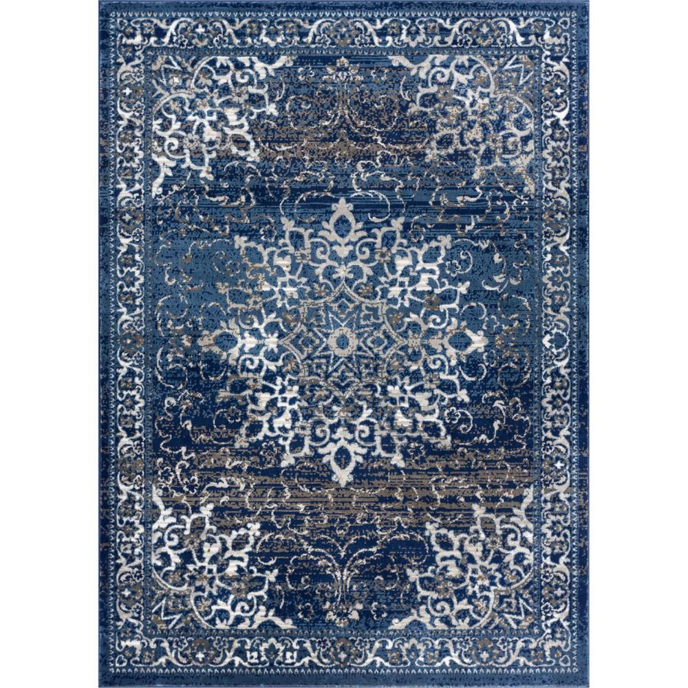 Well Woven New Age Sultana Blue 7 Ft 10 In X 9 Ft 10 In Traditional Medallion Vintage Distressed Area Rug P Am 64 7 Blaue Teppiche Blumenteppich New Age