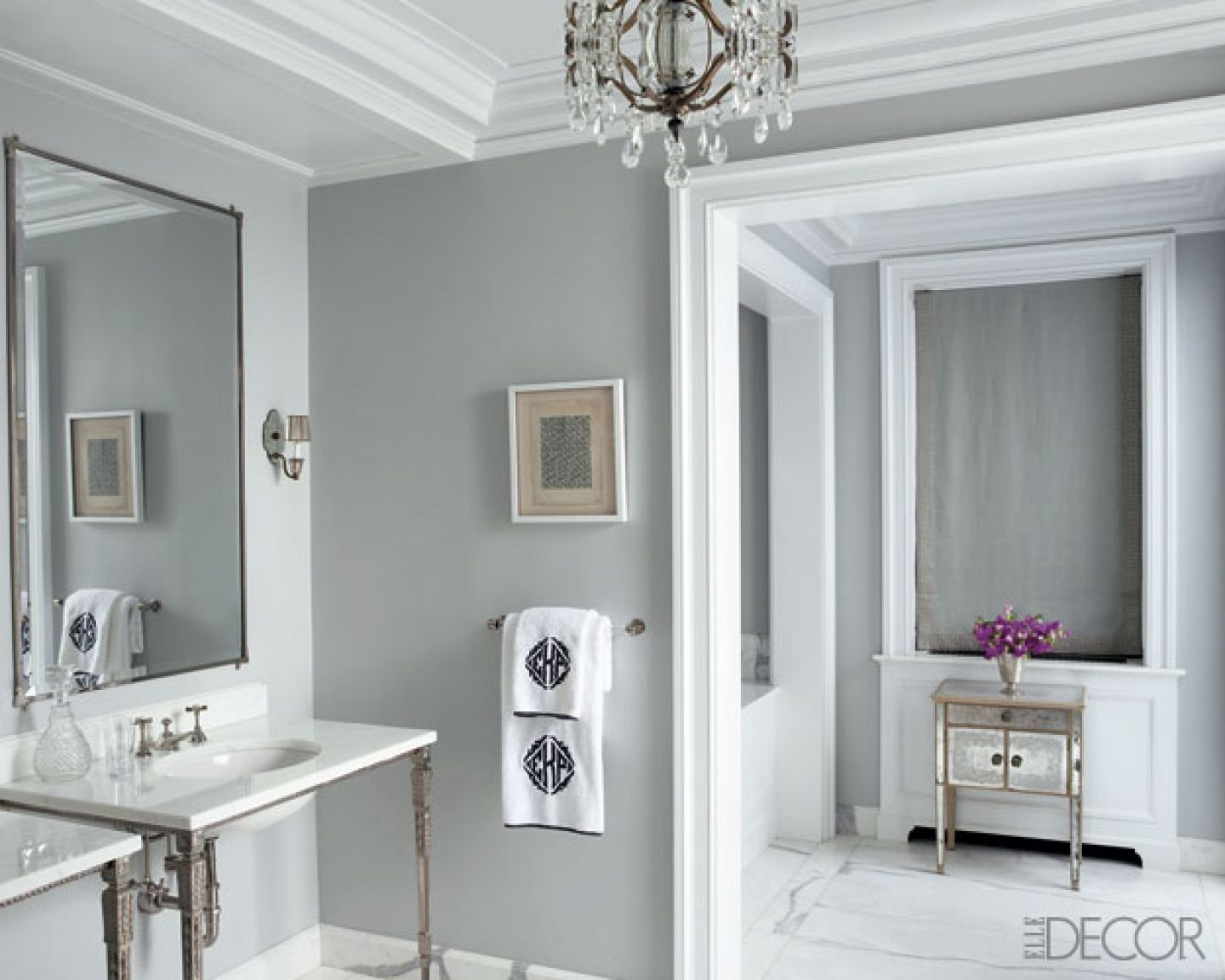 Grey bathroom color ideas - Elegant Bathroom Paint Idea With Grey Painted Wall And White Borders Also Two Sink Consoles With