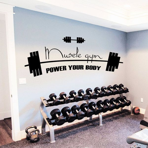 Interior Design Ideas For Home Gym: GYM Decor Power Your Body Vinyl Sticker Wall Art