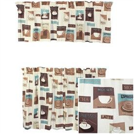 Coffee Print Curtain Coffee Kitchen Curtains Cafe Mocha