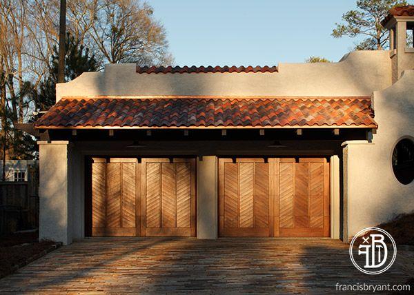 Custom built by Francis Bryant Construction \\ wood garage doors, herringbone pattern garage doors, terra cotta roof tiles \\ francisbryant.com