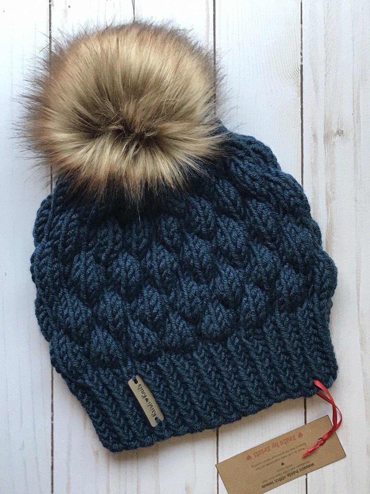 Womens Bobble Stitch Knit Hat // Chunky Knit Hat ...
