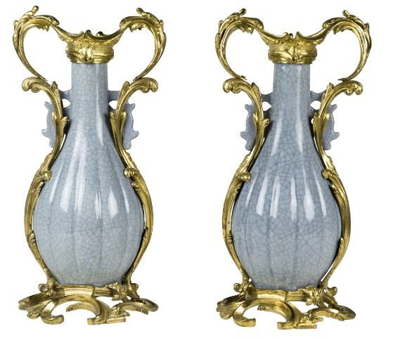Pair of gilt bronze mounted Chinese vases from the 19thC