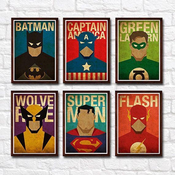 Superheroes minimalista cartel Vintage Set de 6 grabados