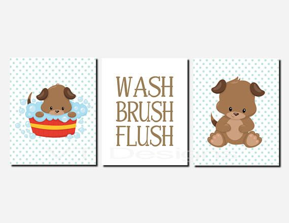 . Kids Bathroom Decor Puppy Dog Bathroom Art Bathroom Rules
