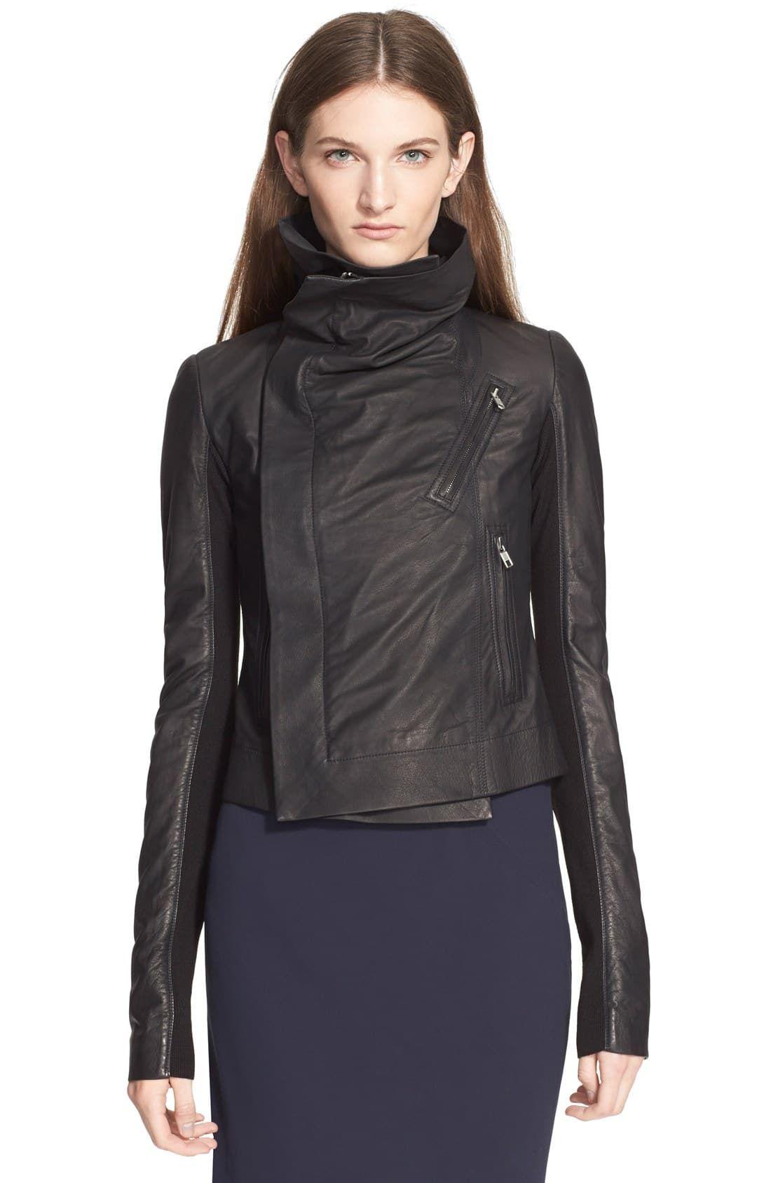 1002f9536 Women's Rick Owens 'Classic' Leather Biker Jacket, Size 10 US / 46 ...