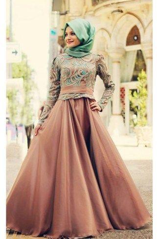 Model Baju Gamis Brokat Kombinasi Sifon Untuk Muslimah Dorami