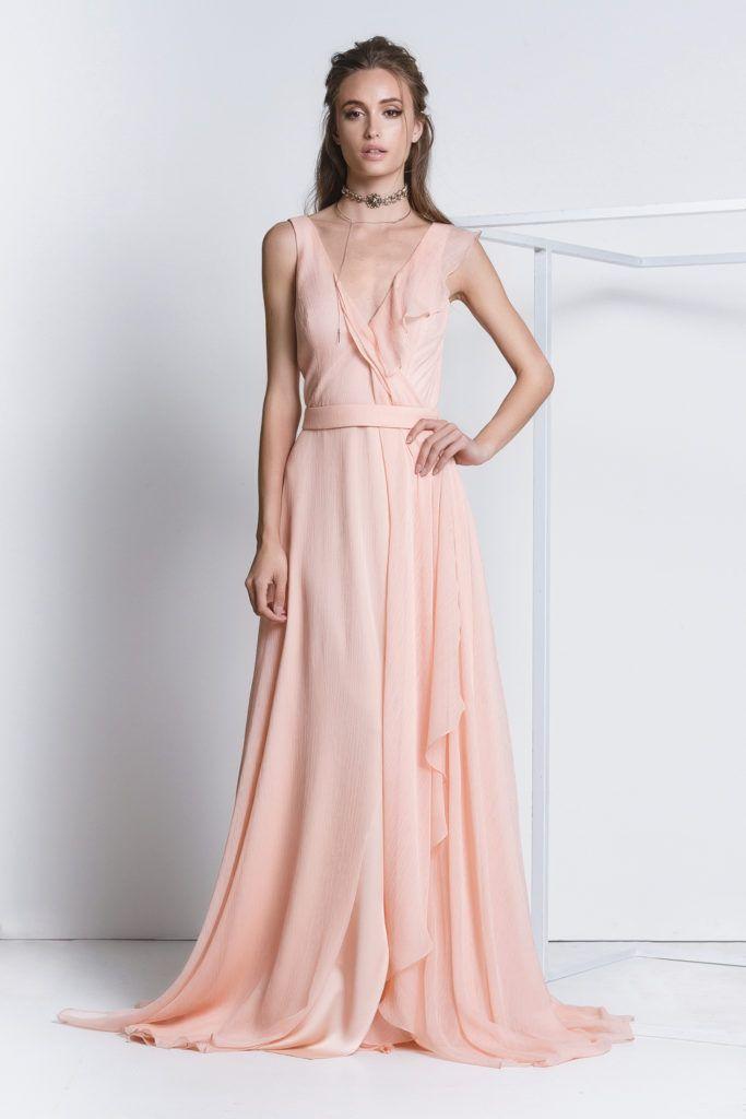 Vestido longo de seda decote – Vestidos de noche de moda en España