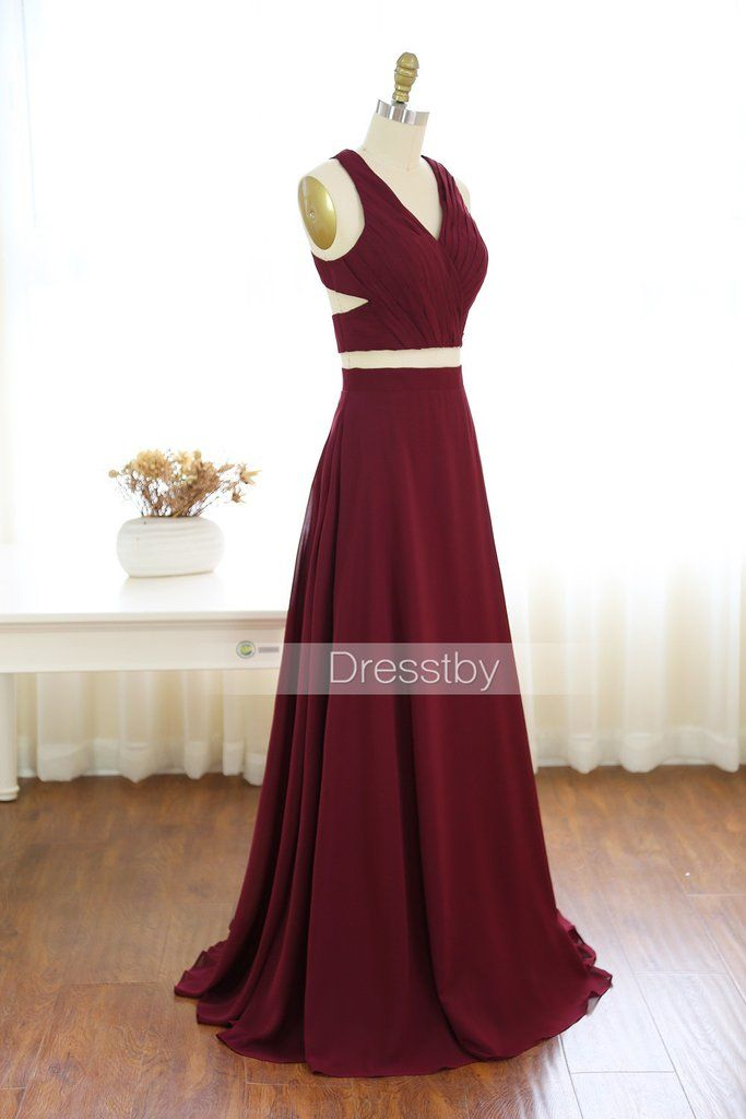 d9a3211d8c56 Two pieces burgundy chiffon long prom dress