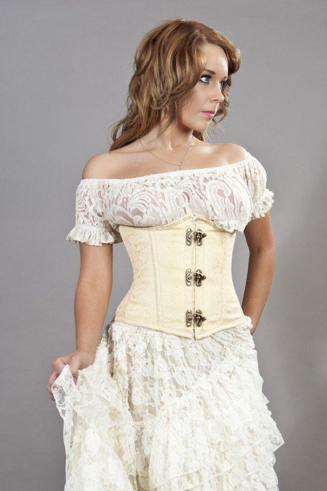 Candy c lock underbust burlesque corset in cream brocade