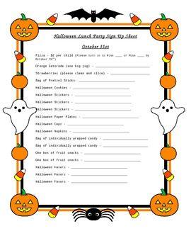 Halloween Party Sign Up Sheet Halloween Halloween Party