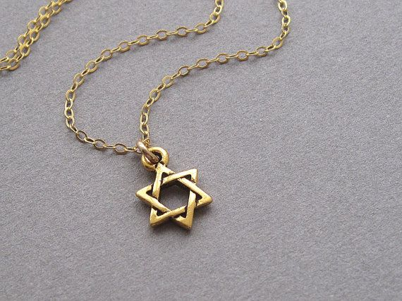 Star Of David Necklace Tiny Gold Charm Gold Filled Chain