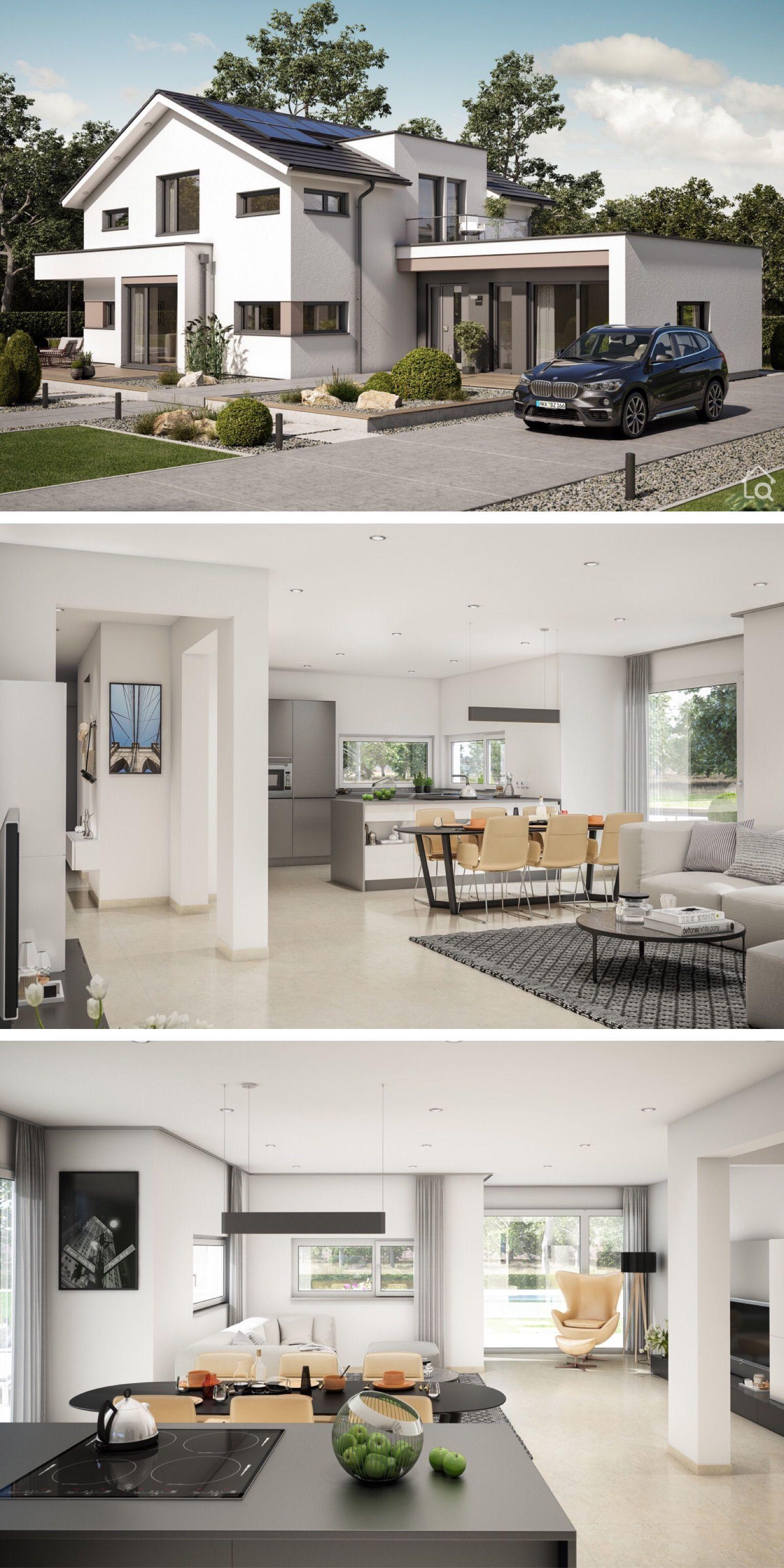 Modernes Haus Design Aussen Mit Satteldach Separatem Buro Anbau Innen Einrichtung Modern Offen Mit Erker Galerie Haus Design Modernes Haus Style At Home