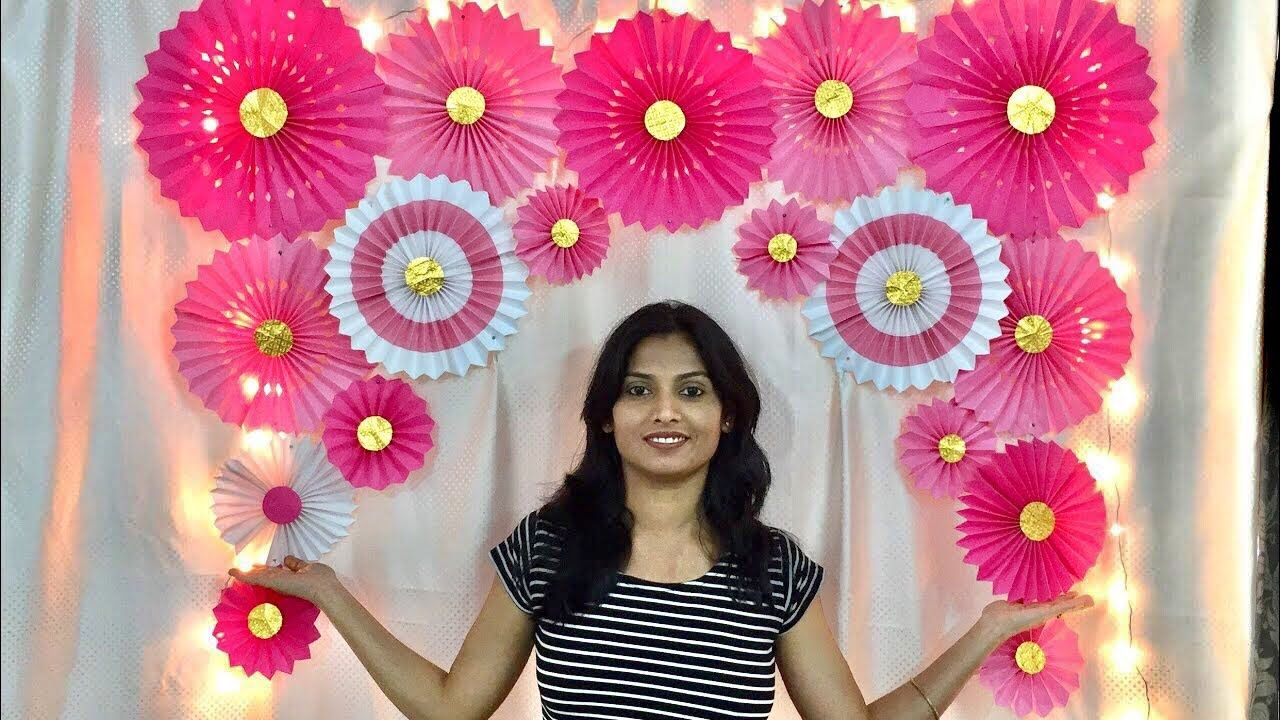 Very Easy Paper Fan Birthday Decoration Easy Birthday Decoration Ideas At Home P In 2020 Diy Birthday Decorations Simple Birthday Decorations Paper Fan Decorations