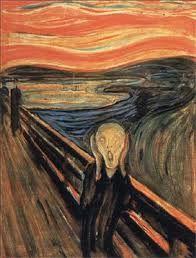 Voorbeeld: expressie  Munch gebruikt complementaire kleuren die elkaar versterken (blauw-oranje) en gebruikt een expressieve lijnvoering. Wilde penseelstreken