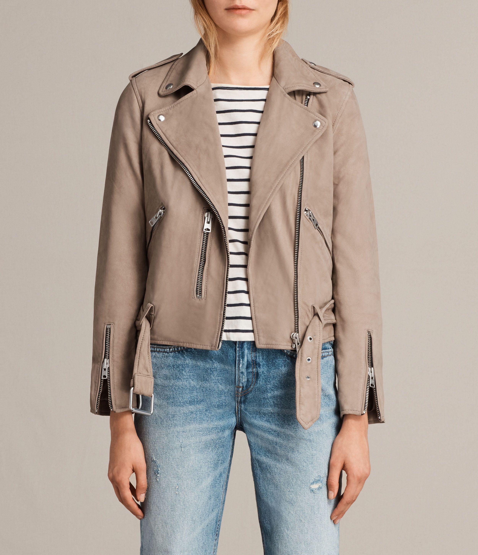 All Saints Balfern Leather Biker Jacket in mushroom brown