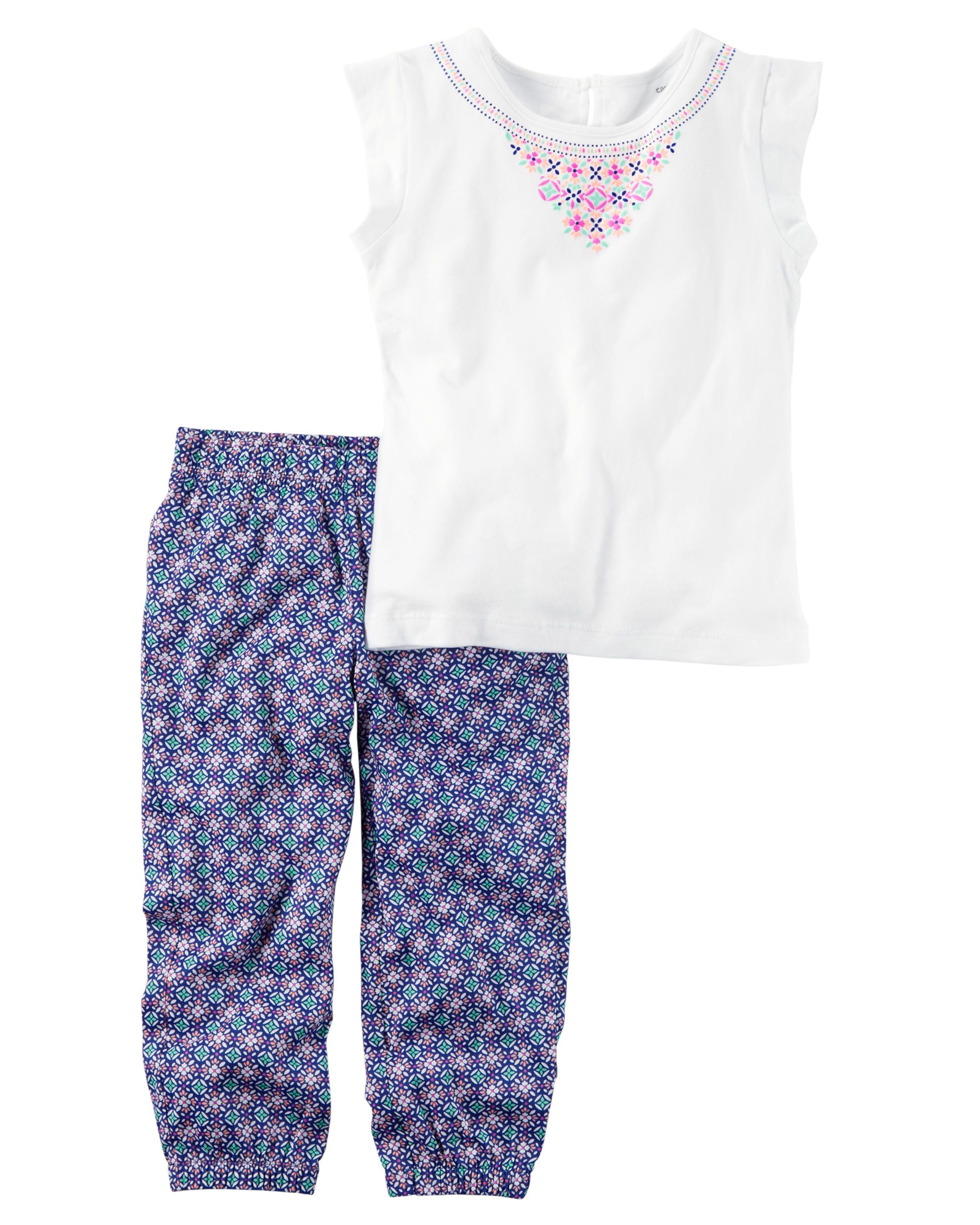 Baby Girl 2-Piece Open-Back Top & Printed Jogger Set Featuring a coordinating open-back top and printed joggers, this warm weather combo has her dressed in a breeze.