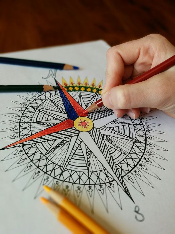Compass Rose Mandala Coloring Page - Instant PDF Download - Adult ...