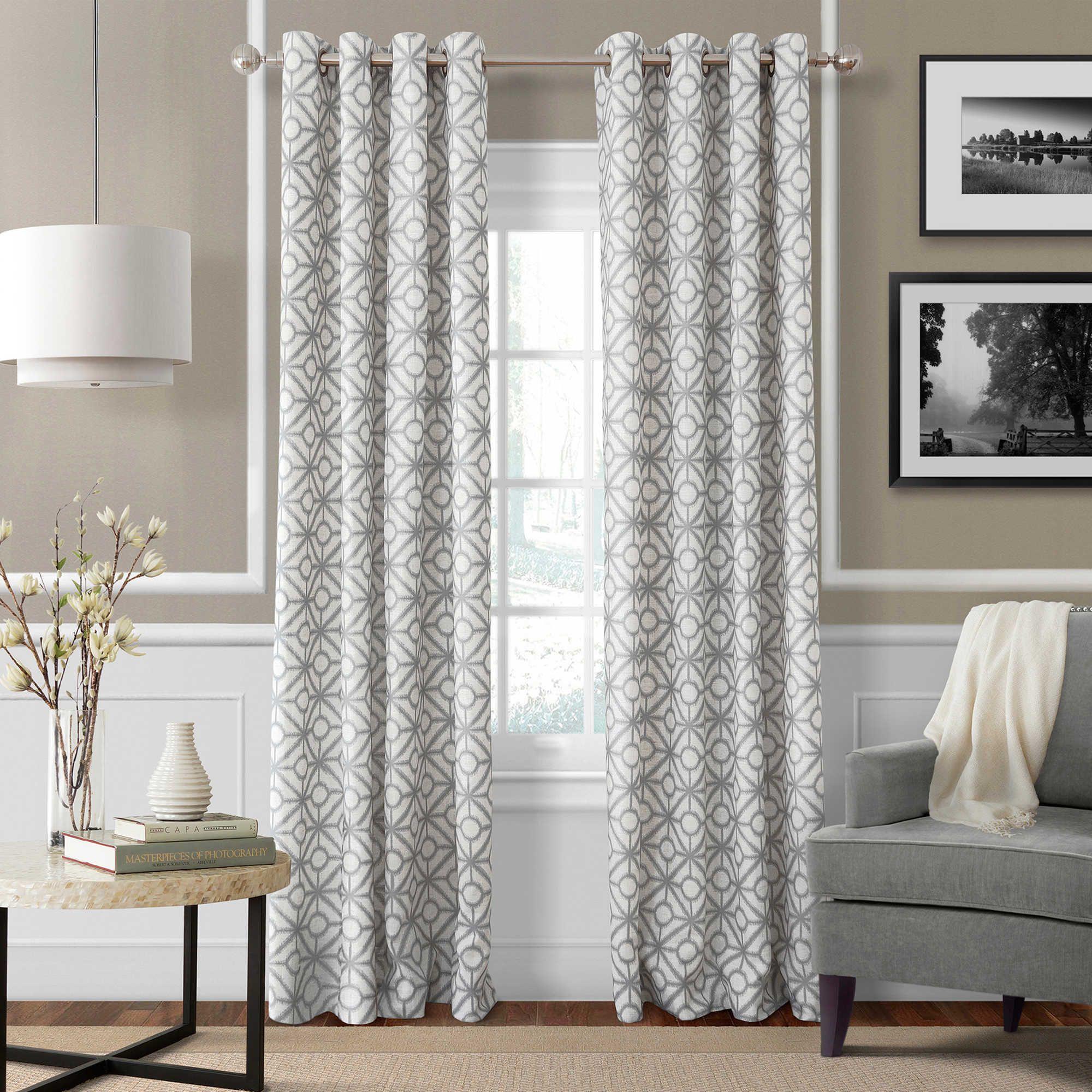 Crackle 84 Inch Grommet Top Window Curtain Panel In Light Grey