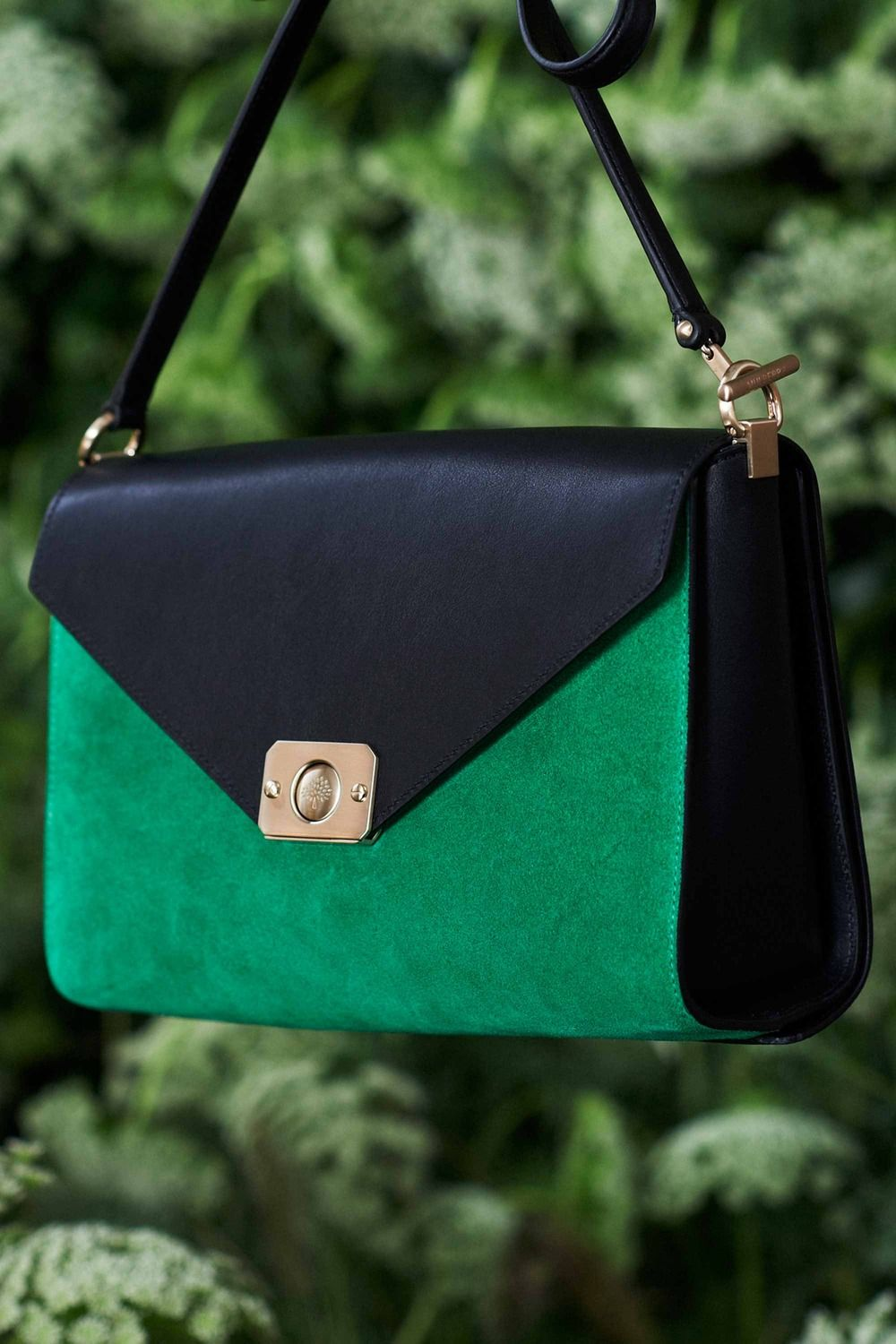 ceaa5409bbe4 Mulberry Black Green Suede Delphi Duo Bag - Spring 2015