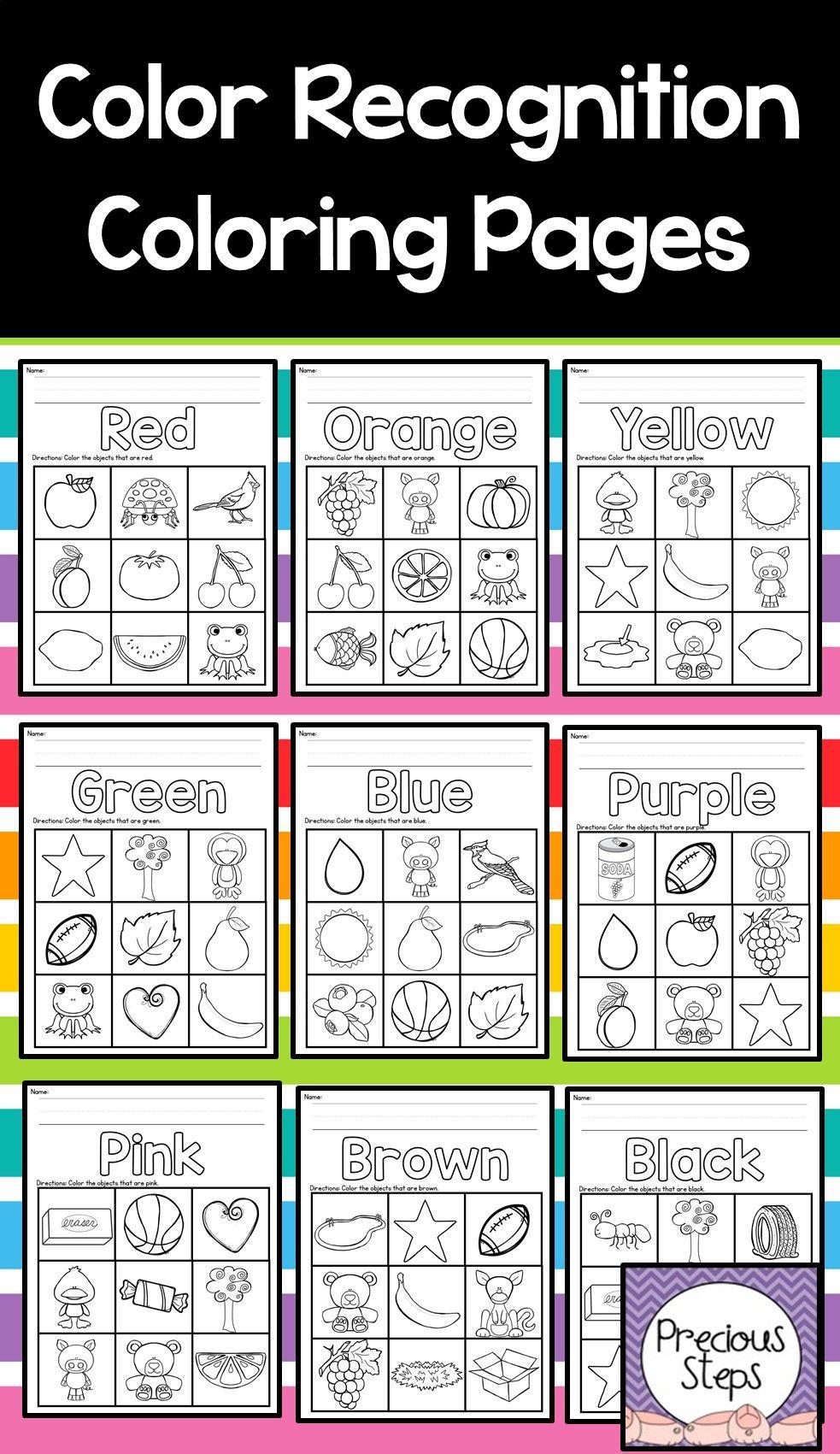 Color Recognition Coloring Sheets For Preschool Or Kindergarten Color Worksheets For Preschool Preschool Colors Teaching Colors [ 1701 x 983 Pixel ]