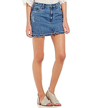 309cc0da51131 Free People Step Up Released Hem Denim Mini Skirt  Dillards