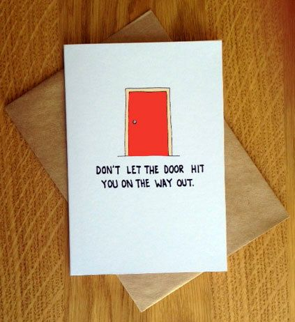 Rude Farewell Card Donu0027t Let The Door Hit You by PostLoveDesigns - free farewell card template