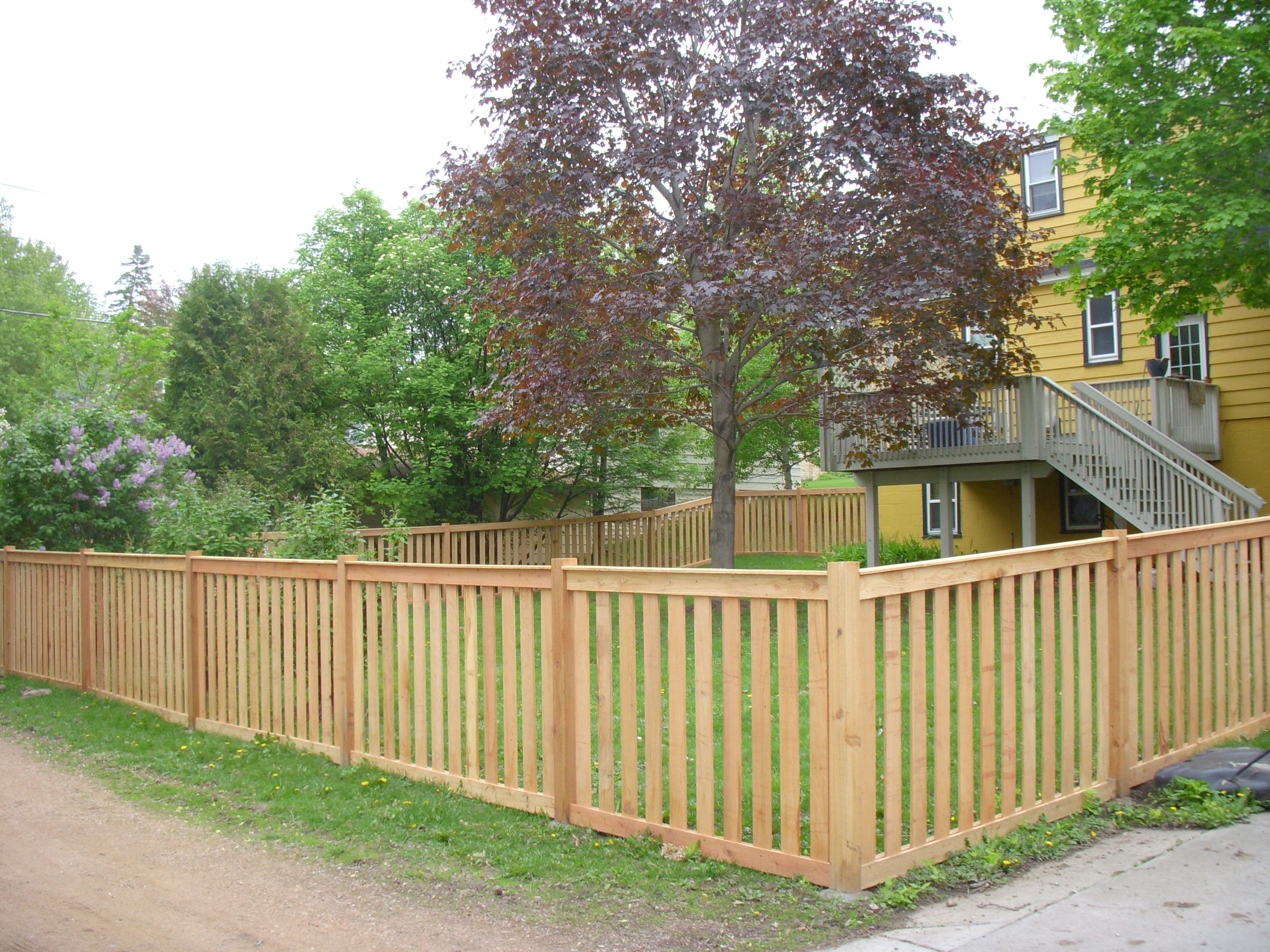 Cedar Picket Privacy Fence Designs Wood Picket Fence Backyard Fences