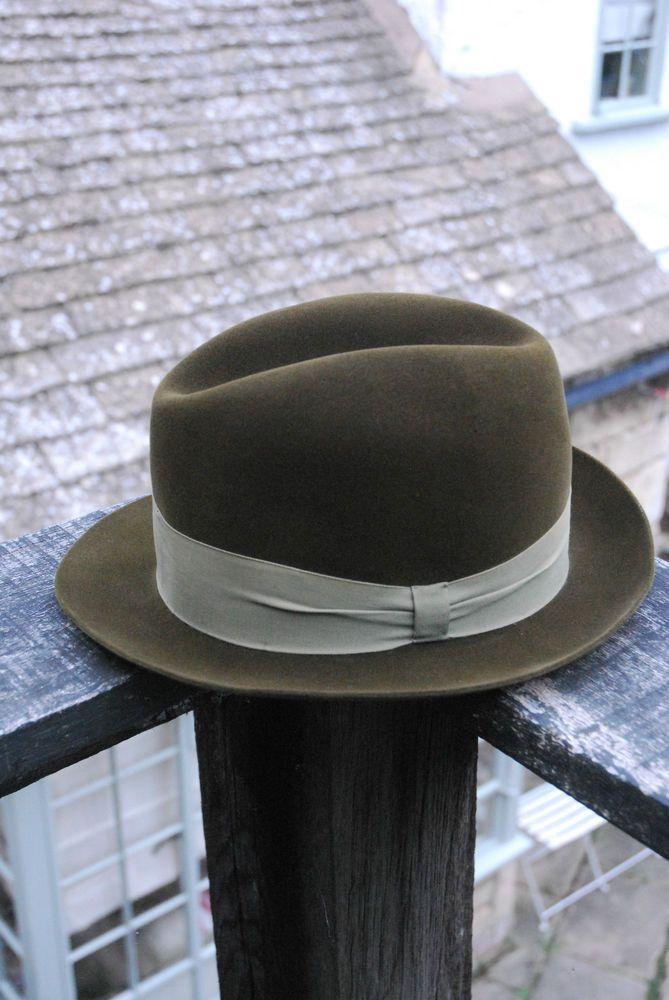101e5c60a Vintage 50 s Green Velvet Style Fur Felt Stingy Fedora Trilby UK 6 3 ...