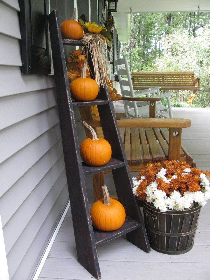 Thanksgiving Decorations Nz : Fall thanksgiving outdoors ladder fun holiday decor