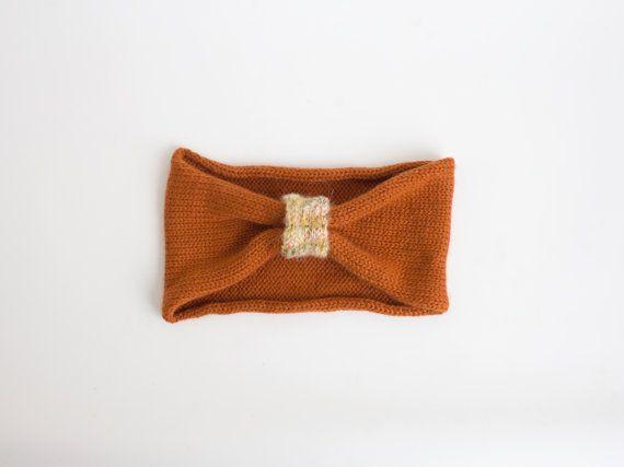 Orange handmade knitting headband  knitted hair by camelotia