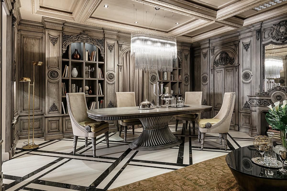 Neoclassical and art deco features in two luxurious for Dining room spaces