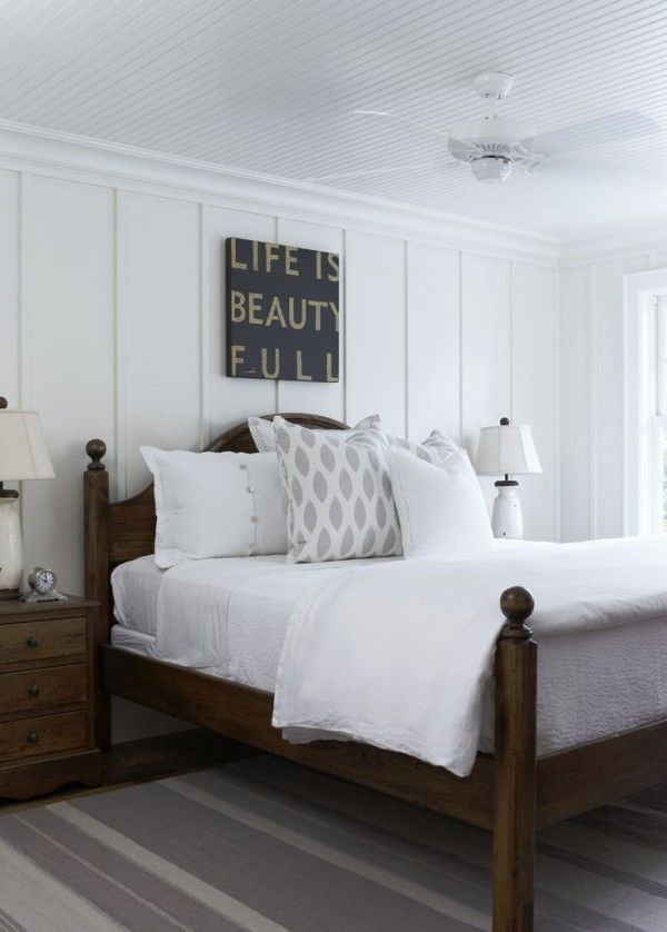 {Love this Style} White + Wood Cottage - The Inspired Room Wood strips on wall