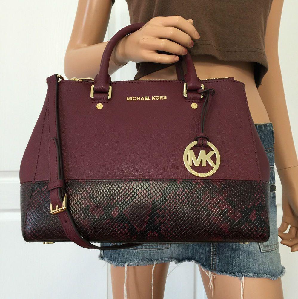 35221d1e18ef Michael Kors Sutton Medium Embossed Saffiano Leather Satchel Purse Marlot |  eBay