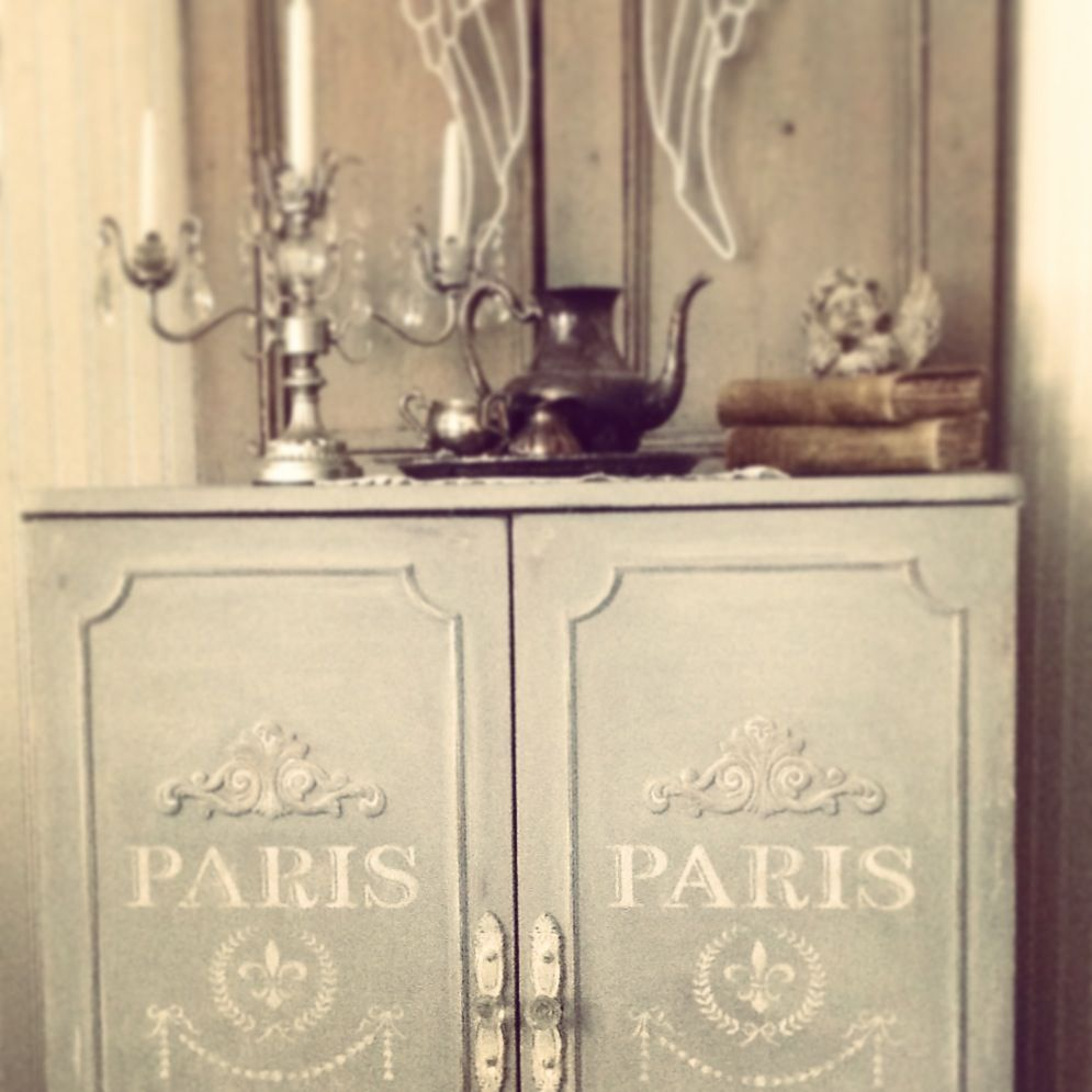 French Cabinet In Ascp Paris Grey French Stencil From Maison De Stencils By Cottage Chic Furniture On Fa French Stencil French Inspired Furniture Stencil Wood