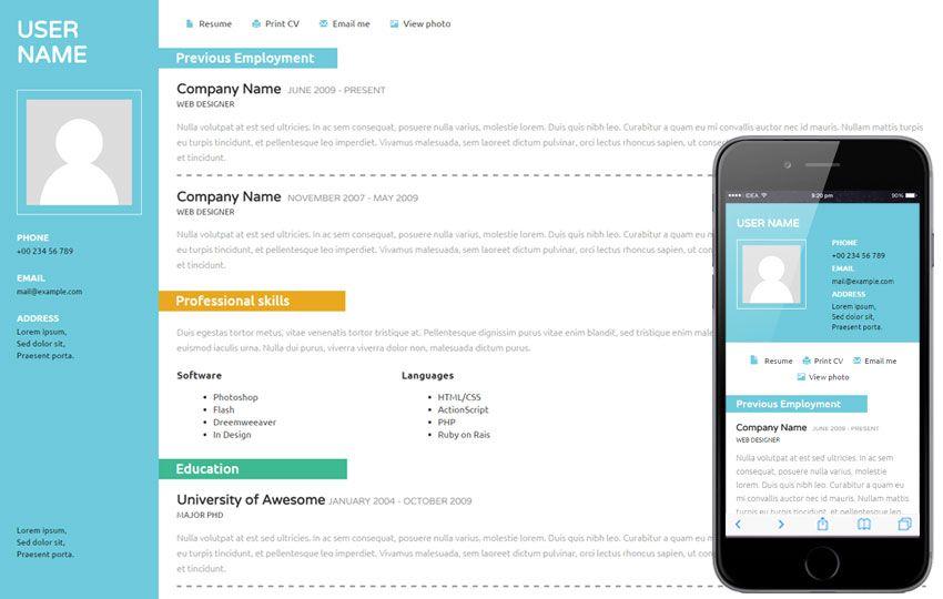 CV a Personal Portfolio Flat Bootstrap Responsive Web Template E - mobile resume