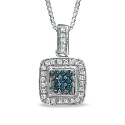 1/3 CT. T.W. Enhanced Blue and White Diamond Square Composite Pendant in Sterling Silver - Zales