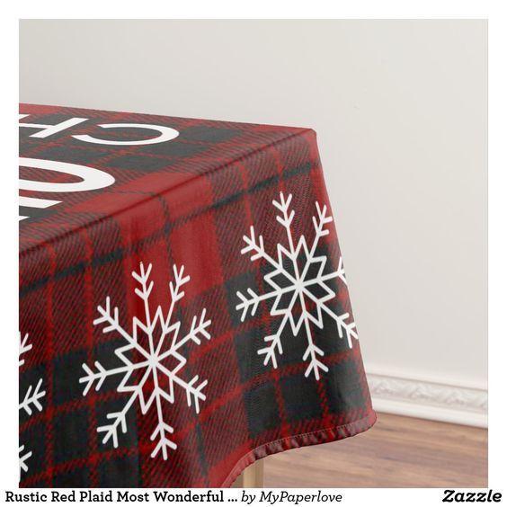 #tablecloth #Christmas #ChristmasIsComing #christmastablecloth #HomeDecor #christmashomedecor #plaidtablecloth #plaid #mostwonderfultimeoftheyear #zazzle #zazzlemade