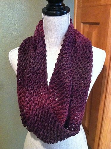 Knit Infinity Scarf Co 10 Sts 12 Stitches If The Yarn Is