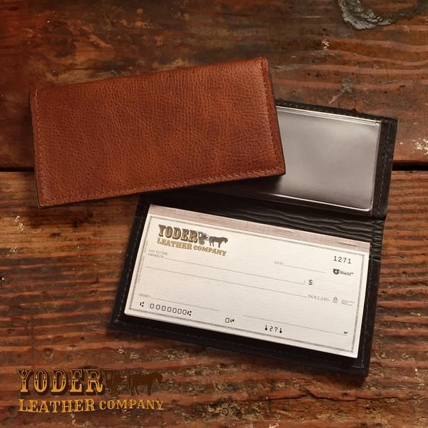 Brown Cowhide Checkbook Cover