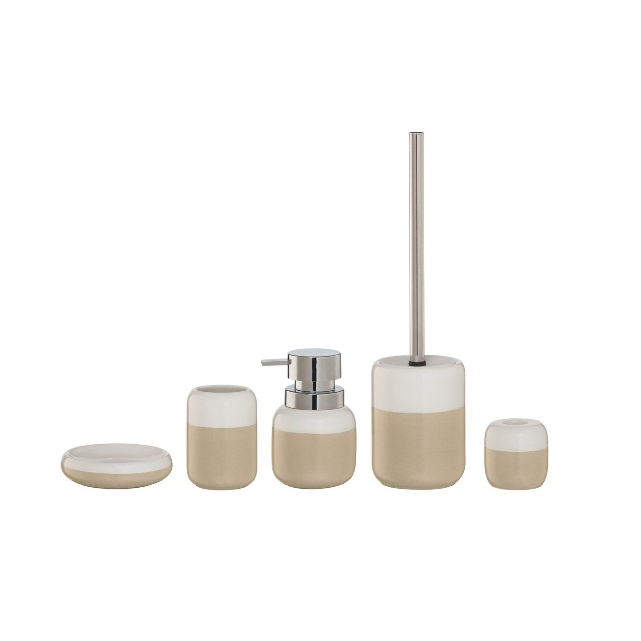 Sealskin 5 Piece Bathroom Accessories Set Sphere Beige And White