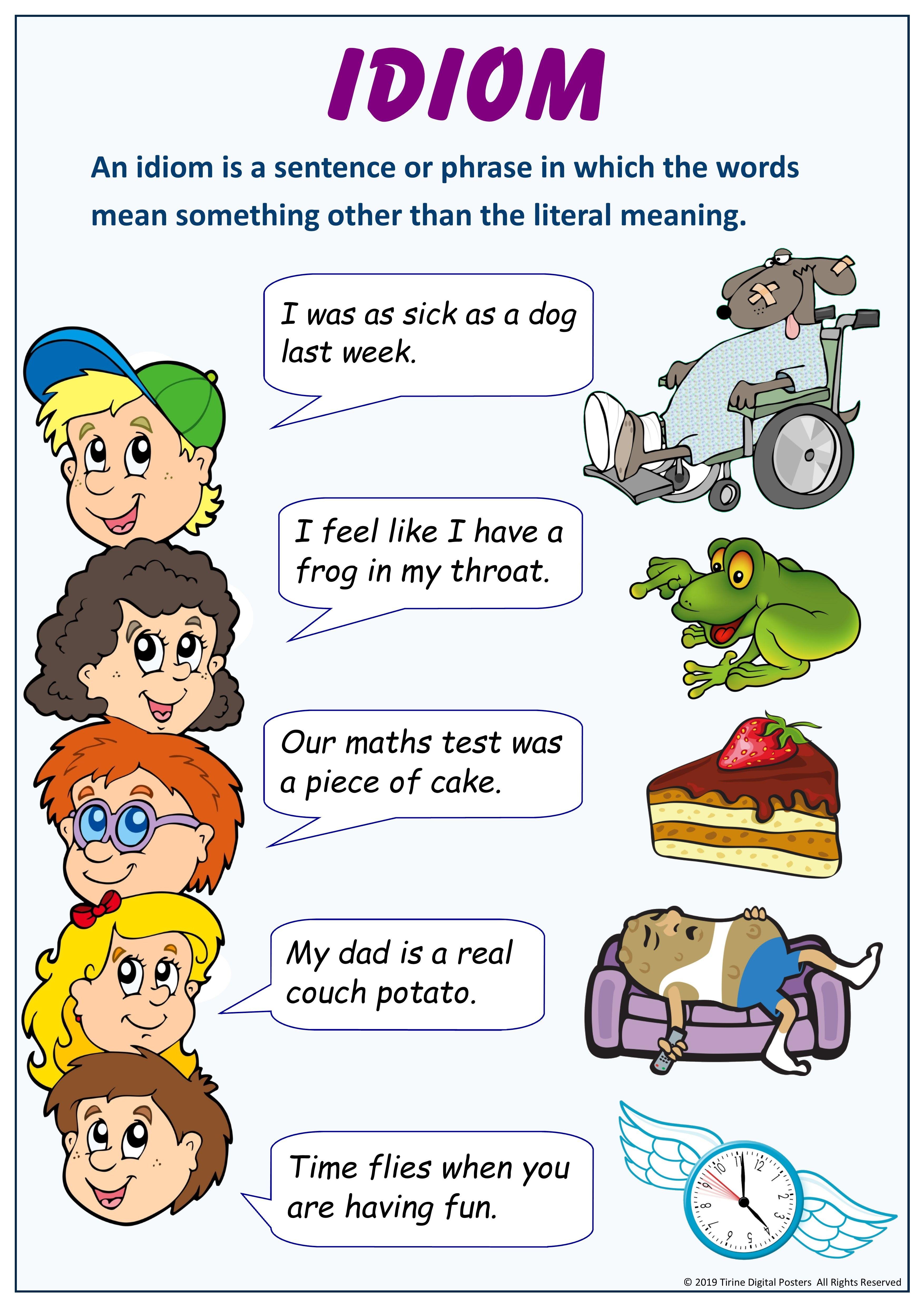 Figure Of Speech Idiom Poster English Classroom Decor