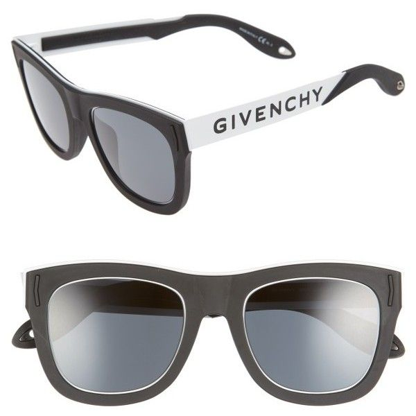 6da0fd10d3b Women s Givenchy 52Mm Mirrored Rectangular Sunglasses ( 395) ❤ liked on  Polyvore featuring accessories
