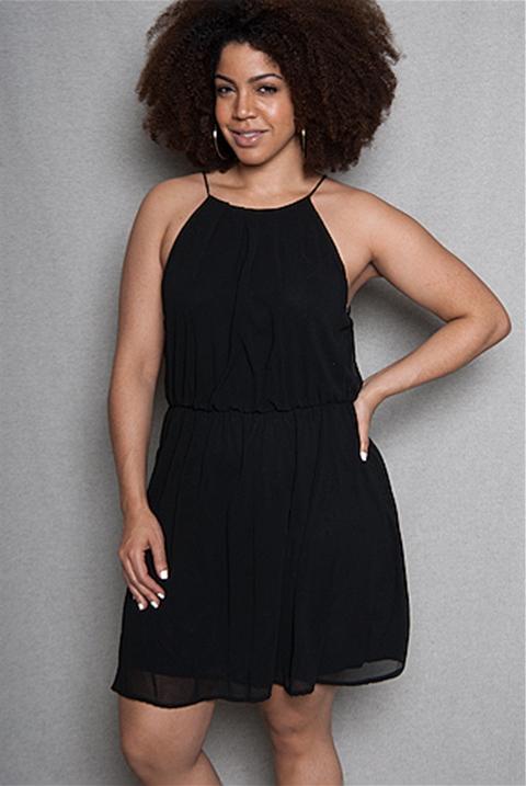 Plus Size Black Halter Dress