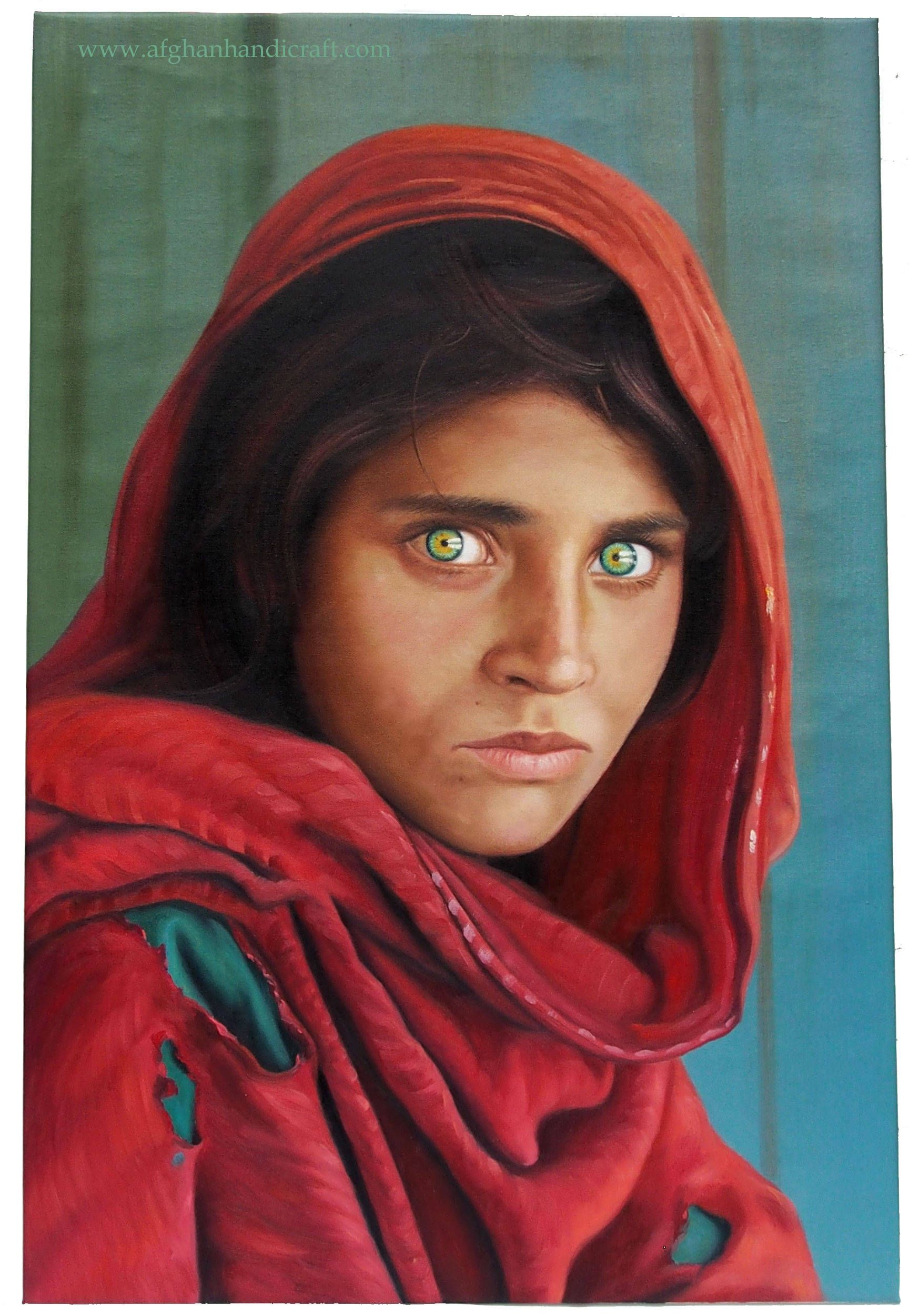 Oil painting of sharbat gula afghan girl steve mccurry afghan girl national geographic handmade oilpainting signed