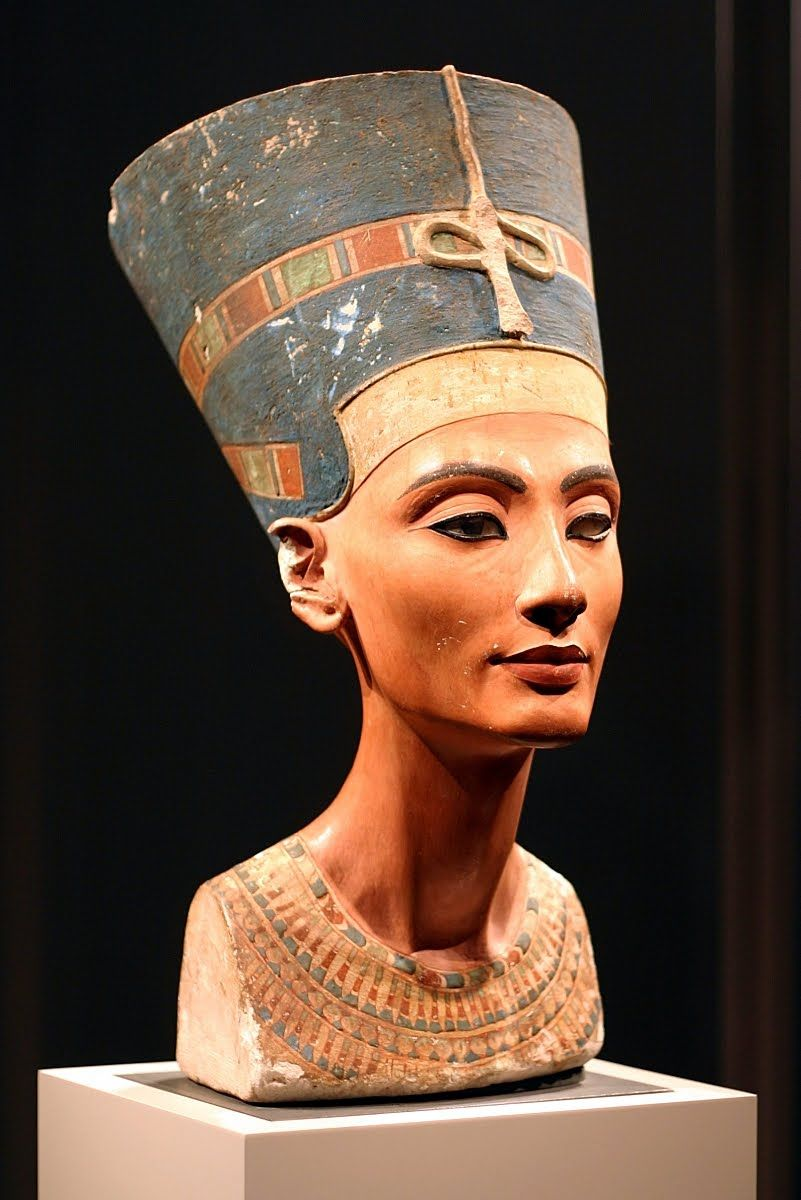 A painted limestone bust of Egyptian Queen Nefertiti, wife of