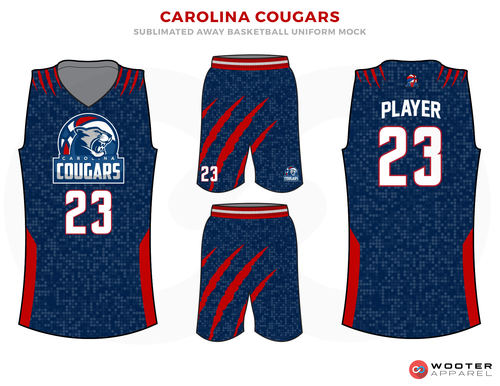 Carolina Cougars Blue Red And White Basketball Uniforms Jersey And Shorts Basketball Uniforms Design Basketball Uniforms Sports Uniform Design