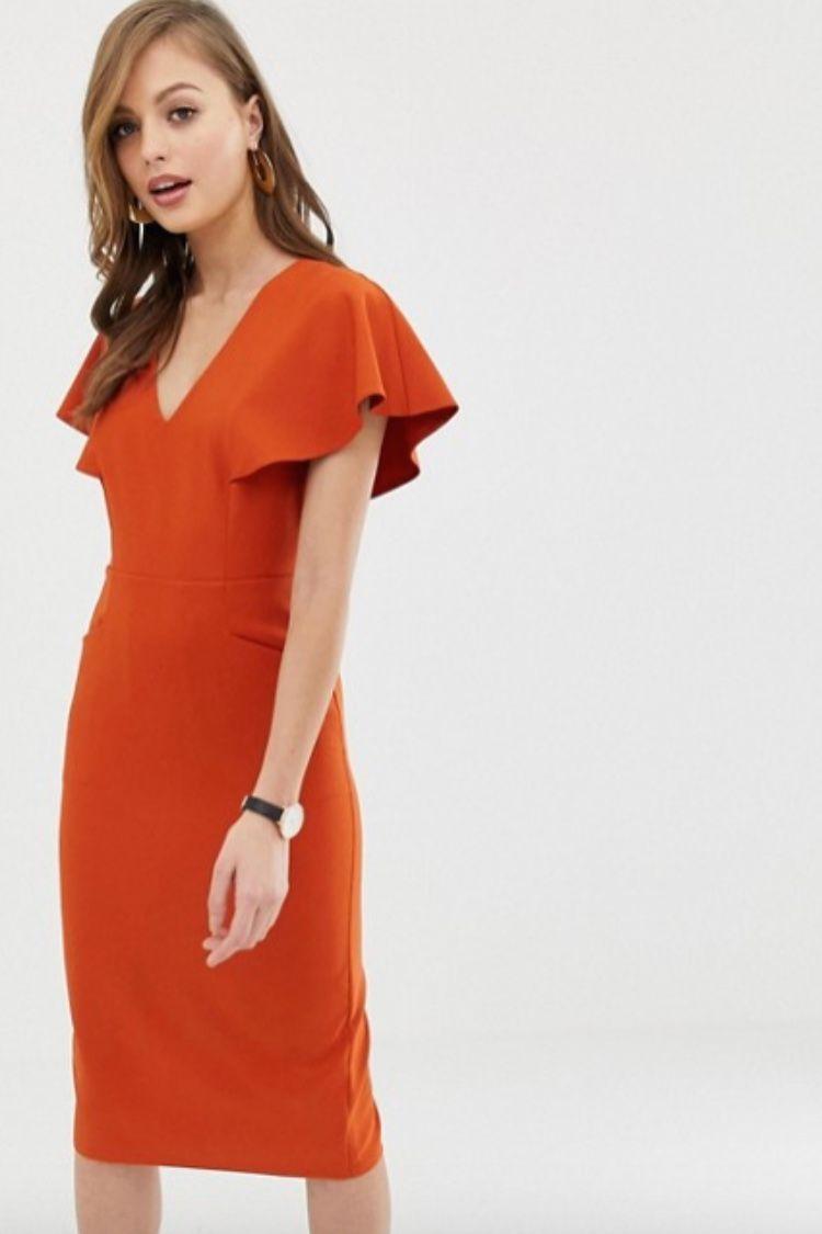 Asos Design Angel Sleeve Midi Pencil Dress Asos Midi Pencil Dress Pencil Dress Asos Designs [ 1125 x 750 Pixel ]
